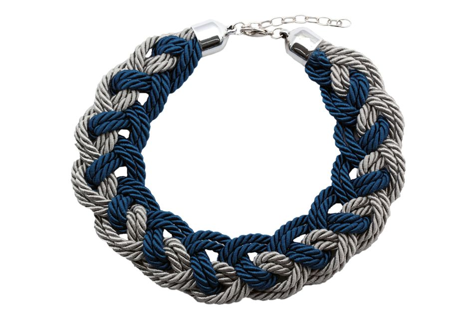 Necklace with two color navy knot