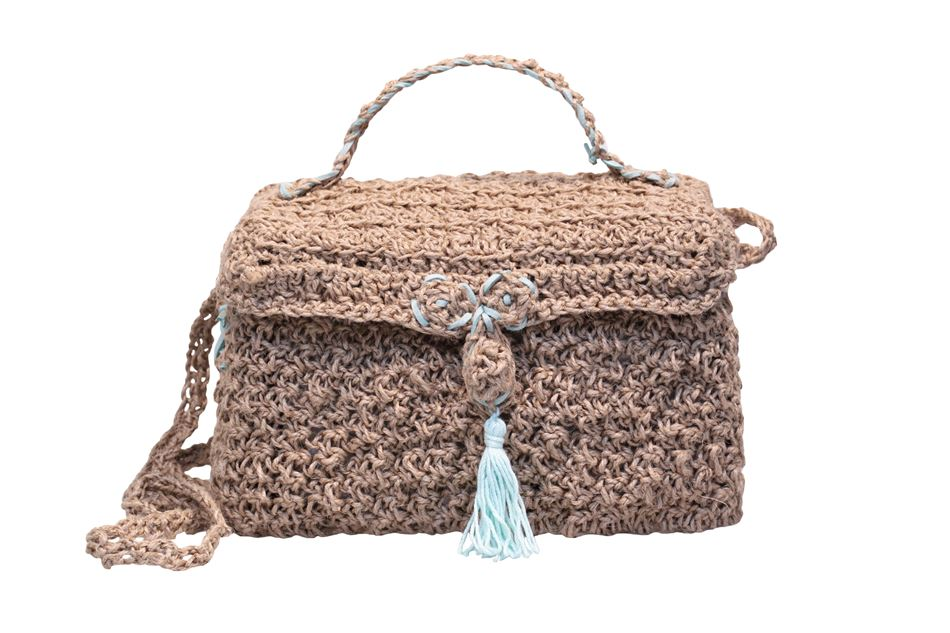 Knitted bag in square shape of rope