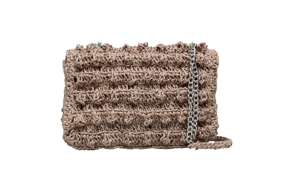 Knitted envelope bag made of rope