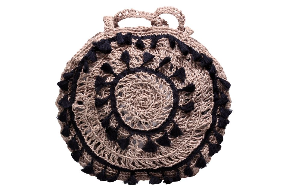 Knitted round bag by rope with tassels