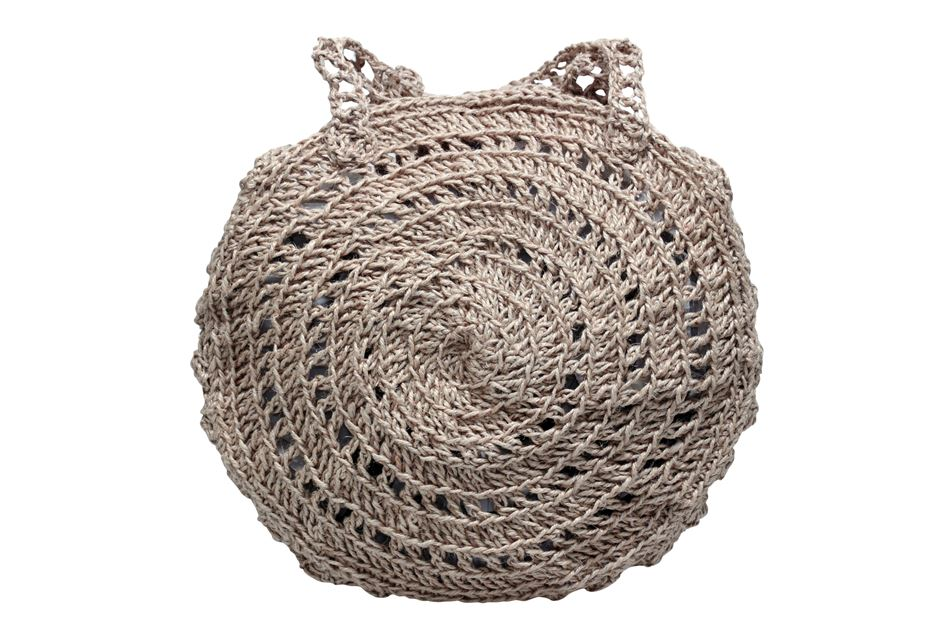 Knitted round rope bag